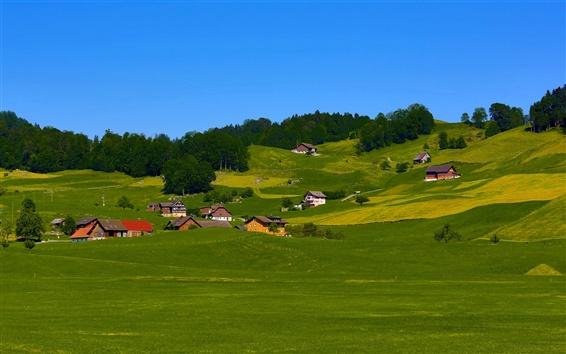Wallpaper Sky, hills, field, grass, trees, houses