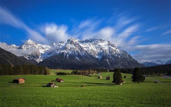 Fond d'écran Sky, montagnes, Alpes, la vallée, les maisons, les arbres, l'herbe