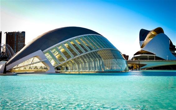Papéis de Parede Espanha, Valência, Cidade das Artes e das Ciências, construção, rio, água azul