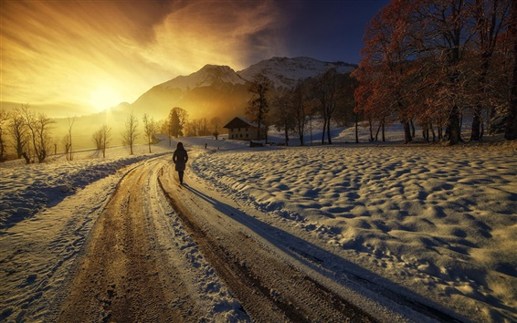 Wallpaper Sunrise, mountains, houses, road, girl, winter, thick snow