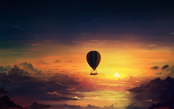 Wallpaper Sunset sky, hot air balloon, art design