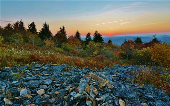 Wallpaper Sunset, sky, mountains, trees, stones
