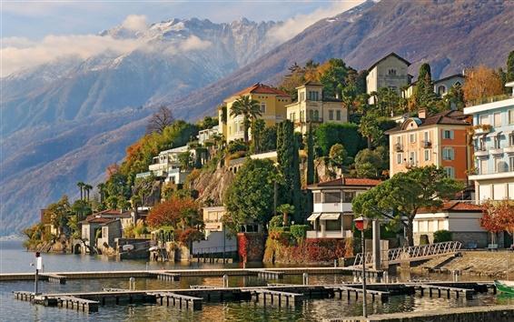 Wallpaper Switzerland, mountains, pier, houses