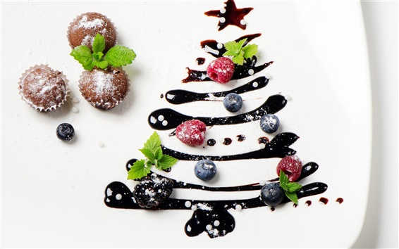 Wallpaper The cream dessert cuisine creative, Christmas trees, strawberries, cake