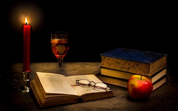 Wallpaper Tranquillity dark, candle, books, glass, apple