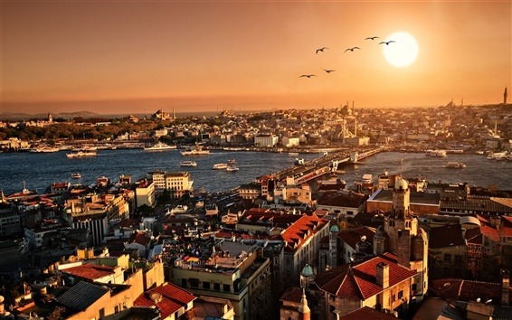 Wallpaper Turkey, Istanbul, beautiful city scenery, sunset, buildings, houses, river