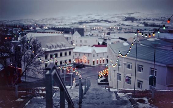Fondos de pantalla Invierno, ciudad, navidad, luces, bokeh, año nuevo