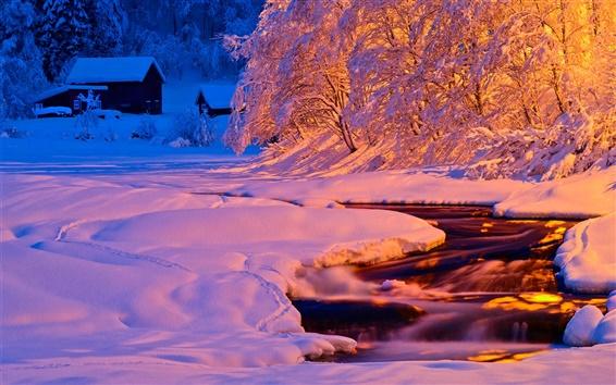 Wallpaper Winter, evening, light, river, stream, snow, house
