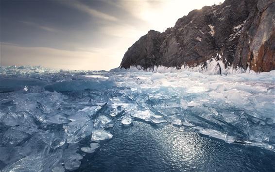 Fond d'écran Hiver, le lac, la glace, l'eau, le ciel, les rochers