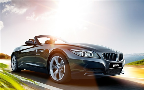 Обои 2015 BMW Z4 E89 серый автомобиль, дорога, скорость, солнце
