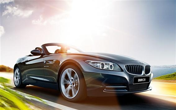 Wallpaper 2015 BMW Z4 E89 gray car, road, speed, sun