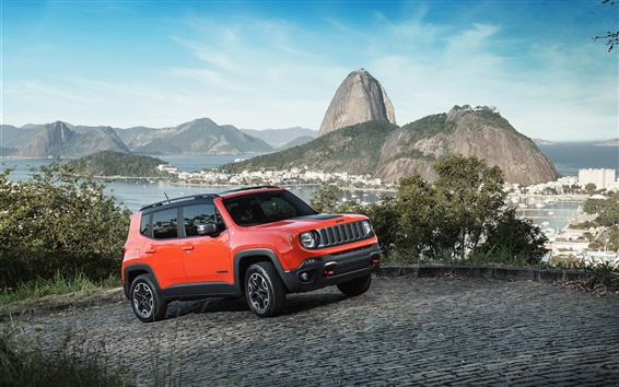 Wallpaper 2015 Jeep Renegade red SUV car speed