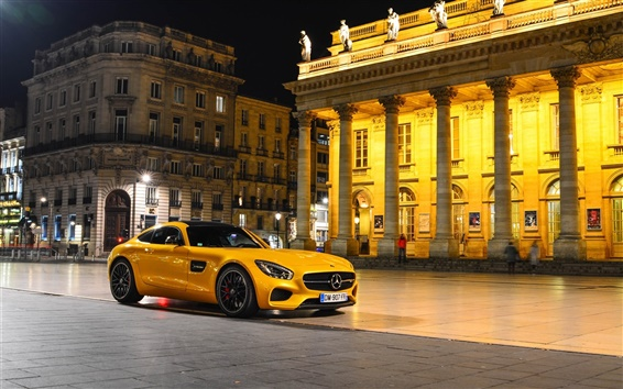 Wallpaper 2015 Mercedes-Benz AMG GTS yellow supercar, night