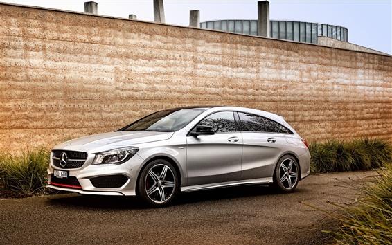 Fond d'écran 2015 Mercedes-Benz CLA 250 voitures d'argent, mur