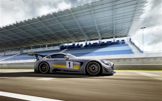 Wallpaper 2015 Mercedes-Benz GT3 AMG silver supercar speed