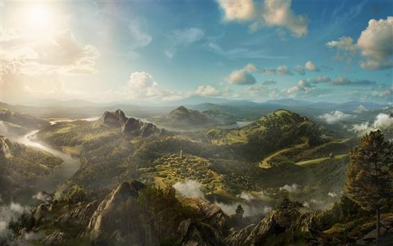 Fond d'écran Peinture d'art, beau paysage, montagnes, collines, arbres, nuages, village