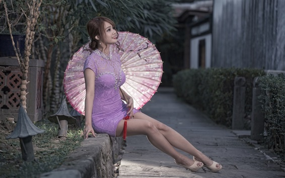 Wallpaper Asian girl, purple dress, umbrella
