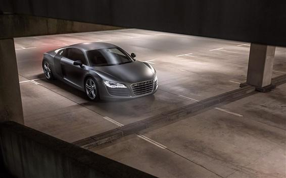 Fondos de pantalla Opinión superior del coche negro Audi R8 V10 Plus