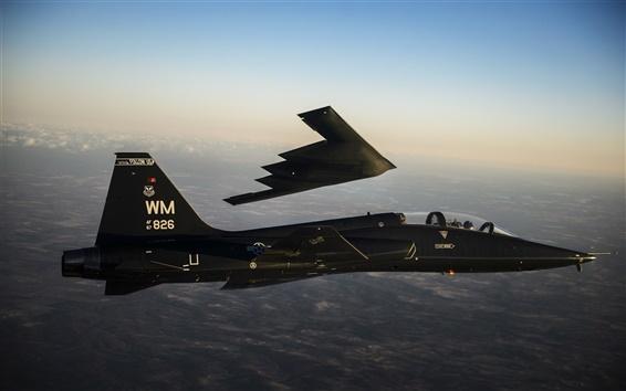 Wallpaper B-2 Spirit bomber, T-38 Talon, supersonic airplane flight