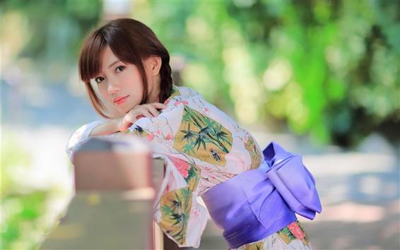 Wallpaper Beautiful Japanese girl, kimono, summer