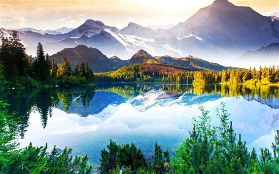 Обои Красивая природа, пейзаж, горы, деревья, озеро, небо, облака, вода отражение
