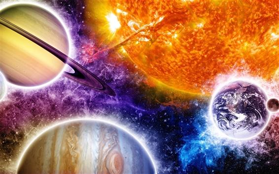 Fond d'écran Bel espace, coloré, planètes, étoiles, le soleil