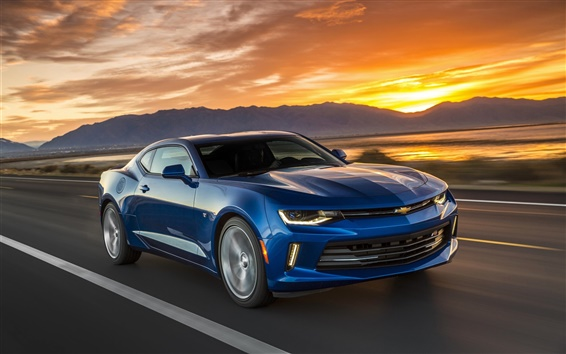 Wallpaper Chevrolet Camaro blue car, speed, sunset