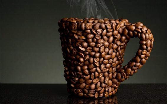 배경 화면 커피 콩 컵