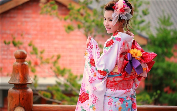 Wallpaper Colorful clothes, kimono, Japanese girl smile