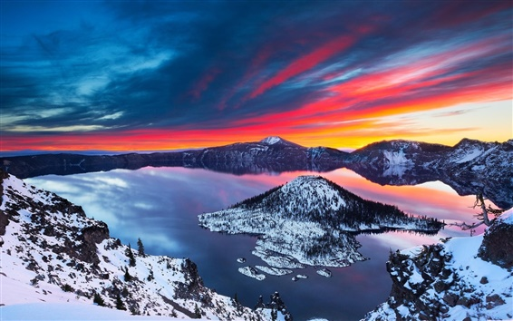 Wallpaper Crater Lake, beautiful winter, snow, sunrise, mountains, clouds