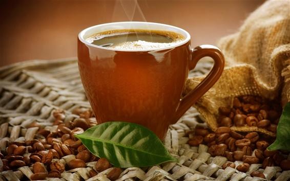 Обои Чашка, кофейный напиток, пар, кофе в зернах, лист