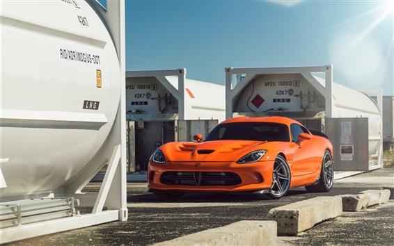 Fond d'écran Dodge Viper d'orange vue supercar avant