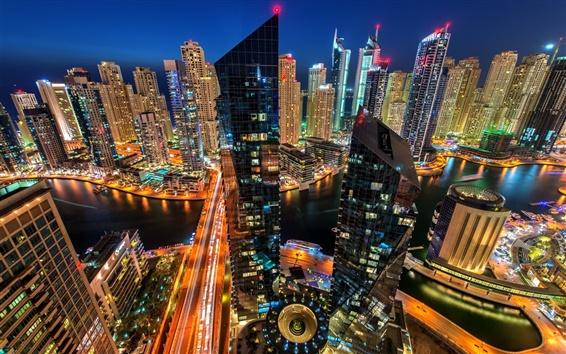 Wallpaper Dubai Marina, Dubai, UAE, city, evening, buildings, skyscrapers, houses, lights
