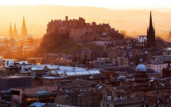 Wallpaper Edinburgh Castle, Scotland, stronghold, city, houses, buildings, dawn