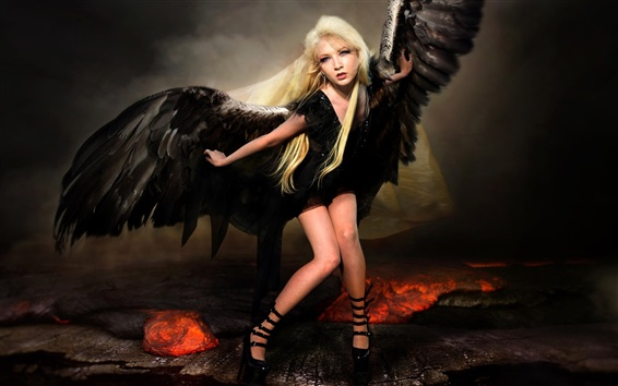 Wallpaper Fallen angel, wings, blonde girl, creative