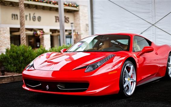 Wallpaper Ferrari 458 Italia red supercar front view