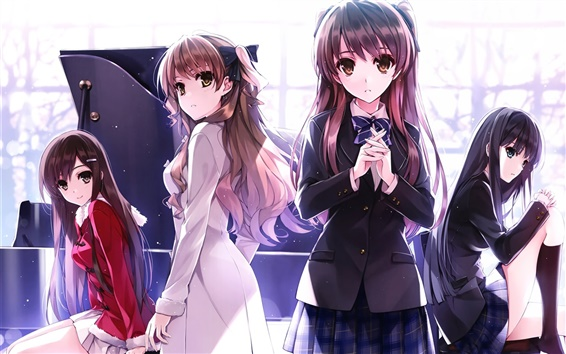 Wallpaper Four beautiful anime girls, schoolgirls, piano