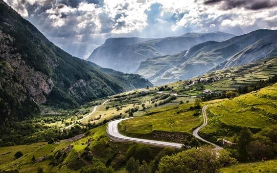 壁紙 フランス、アルプス、山、フィールド、道路、村、雲、太陽の光