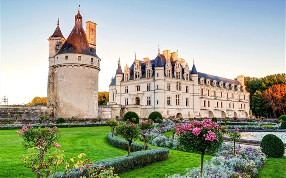 Wallpaper France, Chenonceau chateau, castle, lawn, bushes, garden
