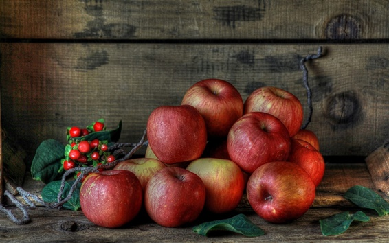 Wallpaper Fresh fruits, red apples, berries
