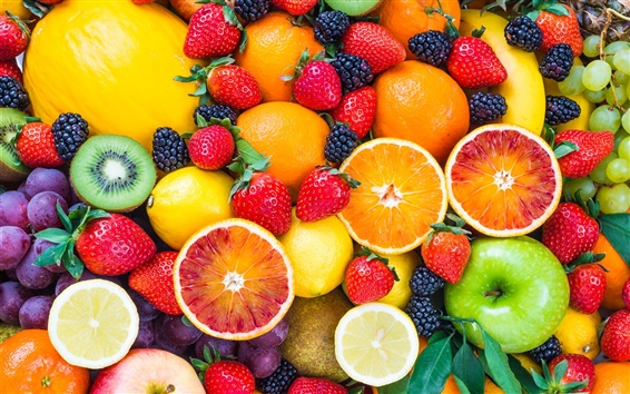 Wallpaper Fresh fruits, strawberries, raspberries, orange, apple, kiwi, grape