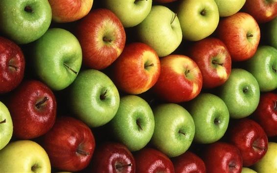 Обои Фрукты макро, красный и зеленые яблоки