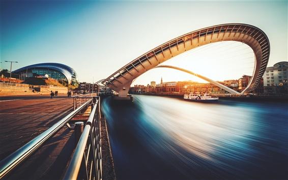 Papéis de Parede Gateshead Millennium Bridge, rio, casa, pôr do sol, UK