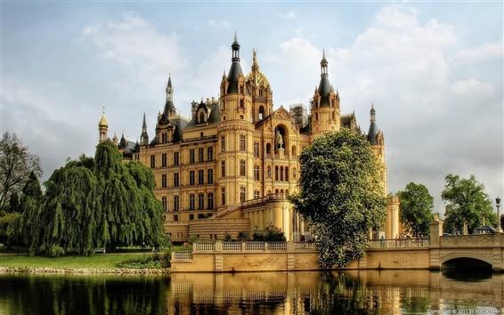 Wallpaper Germany, Schwerin, castle, river, tree, bridge, clouds