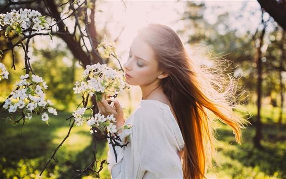 Papéis de Parede menina do cabelo ao vento, raios de sol, primavera, flores brancas