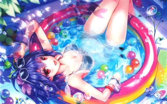 Wallpaper Happy anime girl, water, pool, bubbles, sunglasses