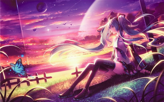 Fond d'écran Hatsune Miku, longs cheveux anime girl, assis sur la plage, coucher de soleil, papillon