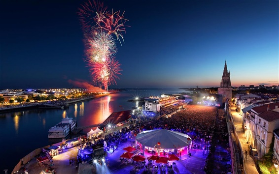 Wallpaper Independence day, La Rochelle, Poitou-Charentes, France, fireworks, beautiful night