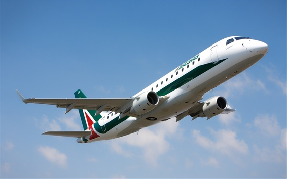 Wallpaper Italy, Alitalia Embraer E175 airplane, flight