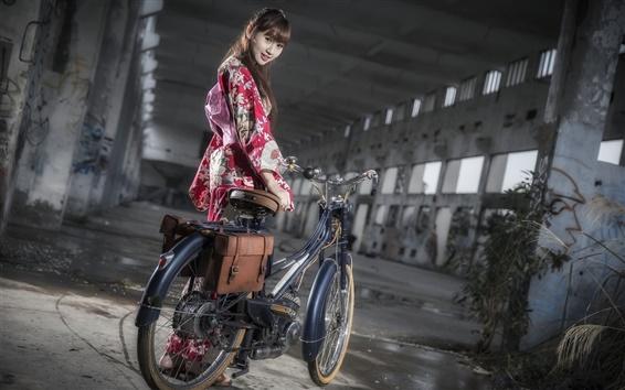 Wallpaper Japanese girl, bike, kimono, night